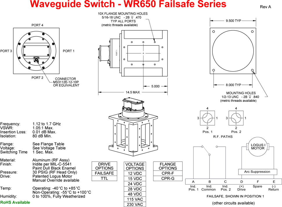 WR650 Series Failsafe Switch technical diagram